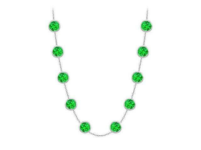 Diamonds By The Yard Frosted Emerald Necklace on 14K White Gold Bezel Set 3.00 ct.tw