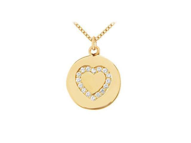 Diamond Heart Disc Pendant  14K Yellow Gold - 0.15 CT Diamonds