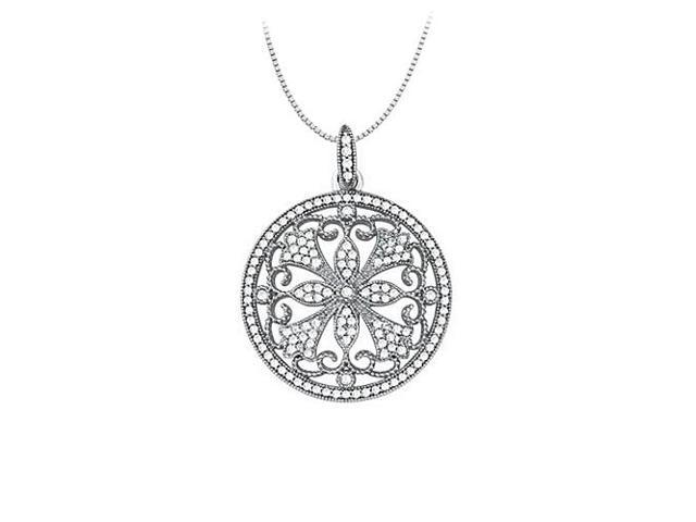 0.75 Carat Total Cubic Zirconia in Sterling Silver Floral Circle Fashion Pendant