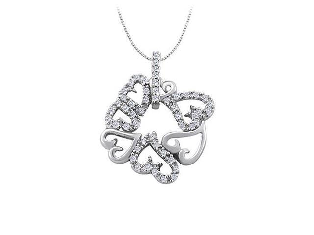 Cubic Zirconia 7 Hearts Fashion Pendant in 14K White Gold 0.25 CT TGWJewelry Gift for Women