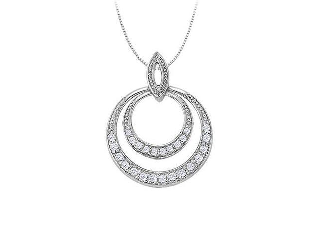 Cubic Zirconia Double Circle Pendant in 14K White Gold 0.50 CT TGWJewelry Gift for Women