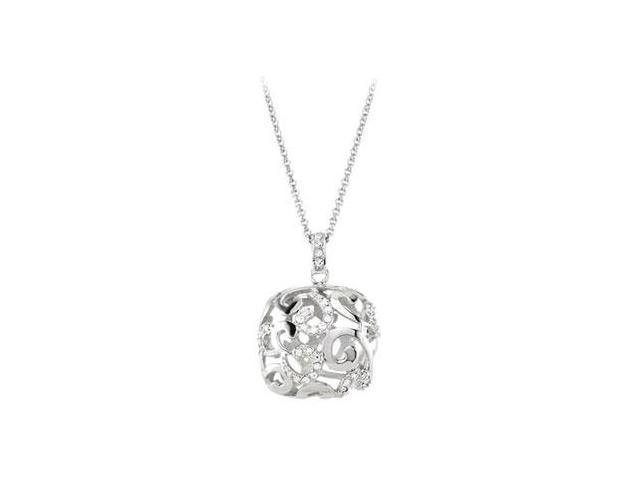 Cubic Zirconia and  Sterling Silver Rhodium Plated Necklace 16 Inch with 2 Inch  Extender