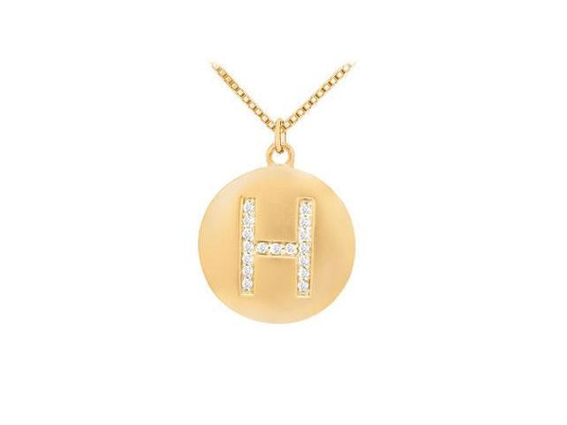 Diamond Initial H Disc Pendant  14K Yellow Gold - 0.25 CT Diamonds