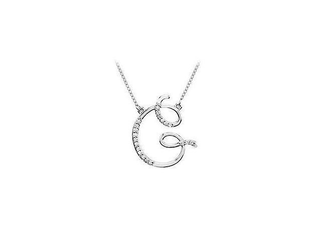 Diamond Letter G Script Initial Pendant  14K White Gold - 0.10 CT Diamonds