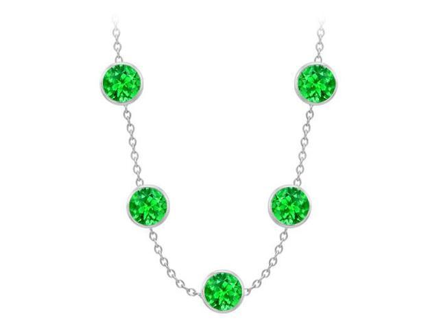 Diamonds By The Yard Frosted Emeralds Necklace on 14K White Gold Bezel Set 75.00 ct.tw