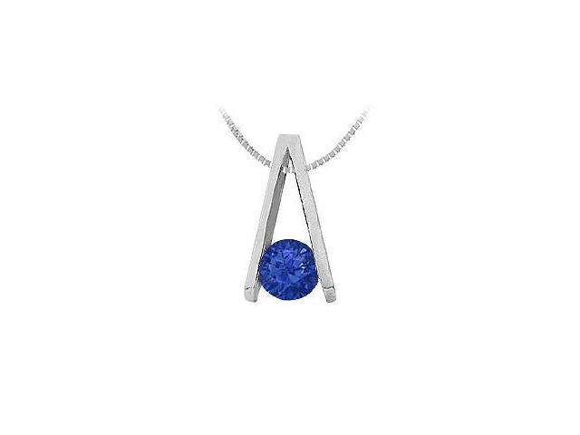 Sapphire A Pendant  14K White Gold - 0.75 CT TGW