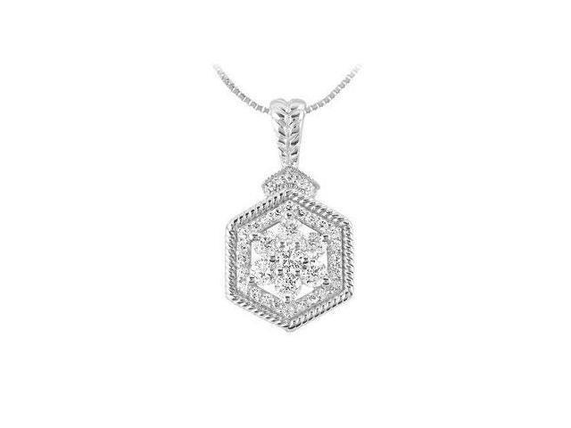 Diamond Geometric Design Pendant  14K White Gold - 0.66 CT Diamonds