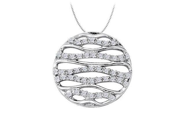 Cubic Zirconia Fancy Circle Fashion Pendant in 14K White Gold 0.25 CT TGWJewelry for Women