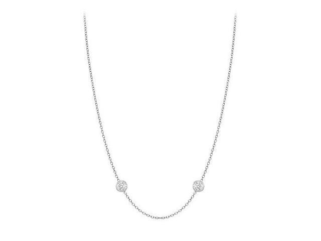 Diamonds By The Yard Necklace in 18K White Gold Bezel Set 0.05 ct.tw