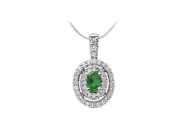 Emerald and Diamond Pendant  14K White Gold - 1.00 CT TGW
