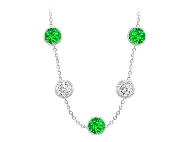 Diamonds By The Yard Frosted Emeralds and CZ Necklace on 14K White Gold Bezel Set 75.00 ct.tw
