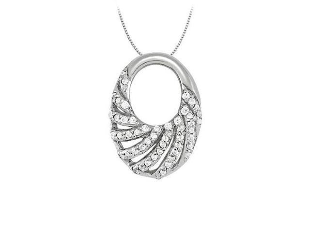 Cubic Zirconia Oval Fashion Pendant in 14K White Gold 0.25 CT TGWPerfect Jewelry Gift for Women