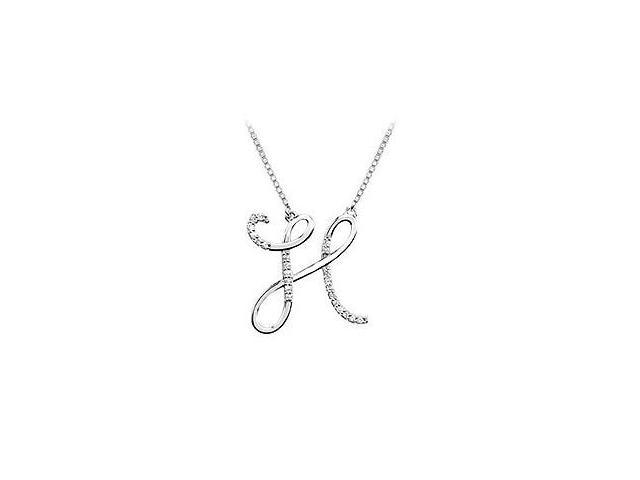Cubic Zirconia Letter H Script Initial Pendant  .925 Sterling Silver - 0.15 CT TGW