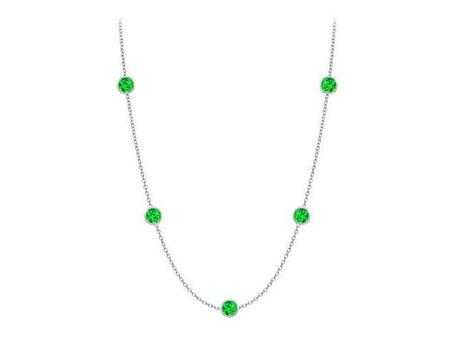 Diamonds By The Yard Frosted Emerald Necklace on 14K White Gold Bezel Set 10.00 ct.tw