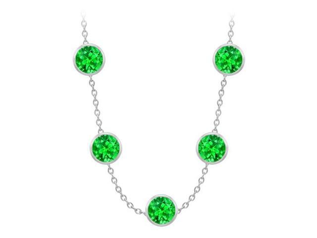 Diamonds By The Yard Frosted Emeralds Necklace on 14K White Gold Bezel Set 100.00 ct.tw