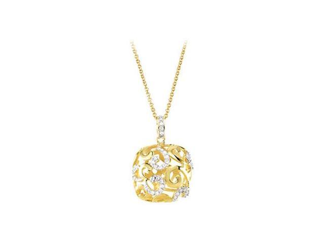 Cubic Zirconia and  Sterling Silver 14K Yellow Gold Plated Necklace 16 Inch with 2 Inch Extender