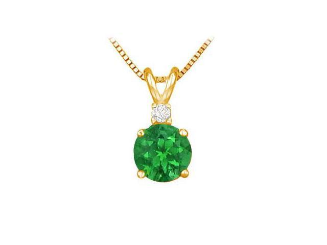 Diamond and Emerald Solitaire Pendant  14K Yellow Gold - 1.00 CT TGW