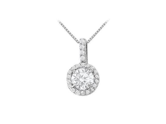 Fancy Round Cubic Zirconia Halo Pendant in 14K White Gold 1.25 CT TGW