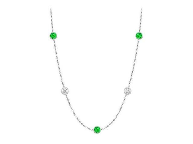 Diamonds By The Yard Frosted Emeralds and CZ Necklace on 14K White Gold Bezel Set 10.00 ct.tw
