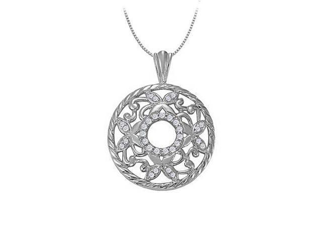 0.25 Carat Total Cubic Zirconia in 14K White Gold Fancy Circle Fashion Pendant