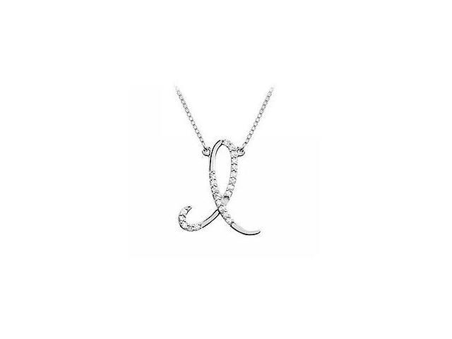 Diamond Letter I Script Initial Pendant  14K White Gold - 0.15 CT Diamonds
