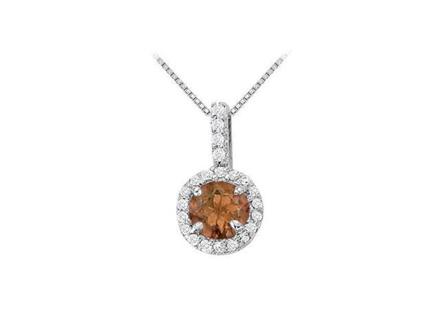 Fancy Round Smoky Quartz and Cubic Zirconia Halo Pendant in 14K White Gold