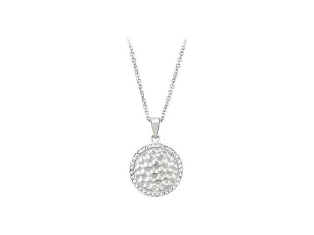 Cubic Zirconia and  Sterling Silver Rhodium Plated Necklace  - 16 Inch with 2 Extender