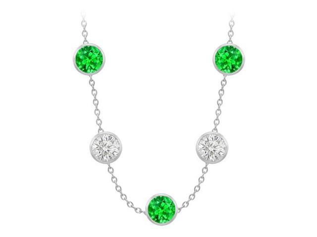 Diamonds By The Yard Frosted Emeralds and CZ Necklace on 14K White Gold Bezel Set 100.00 ct.tw