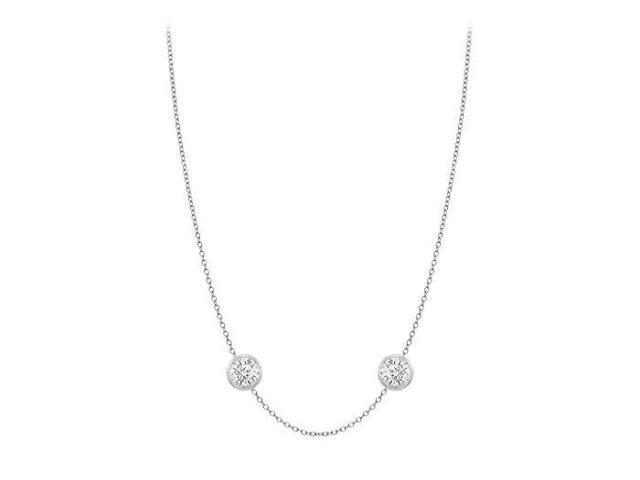 Diamonds By The Yard Necklace in 14K White Gold Bezel Set 0.33.ct.tw