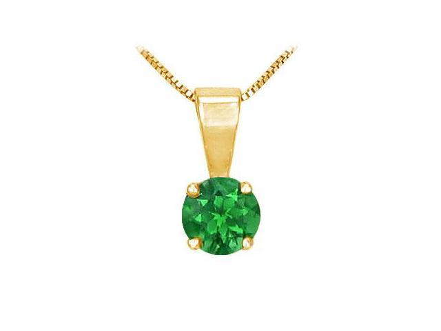 Emerald Solitaire Pendant  14K Yellow Gold - 1.00 CT TGW