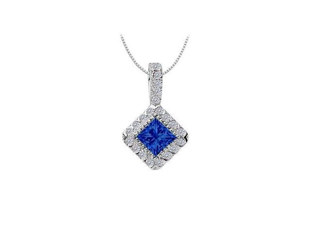 Sapphire and Diamond Pendant  14K White Gold - 0.75 CT TGW