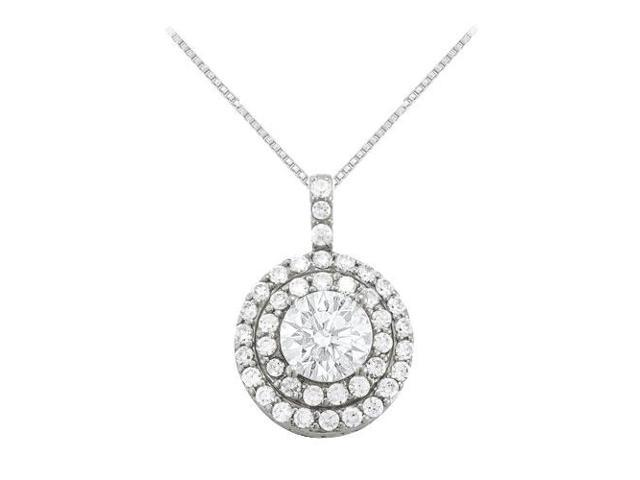 Cubic Zirconia Halo Pendant in 14K White Gold 2.50 CT TGWPerfect Jewelry for Women