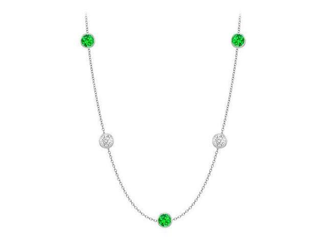 Diamonds By The Yard Frosted Emeralds and CZ Necklace on 14K White Gold Bezel Set 20.00 ct.tw