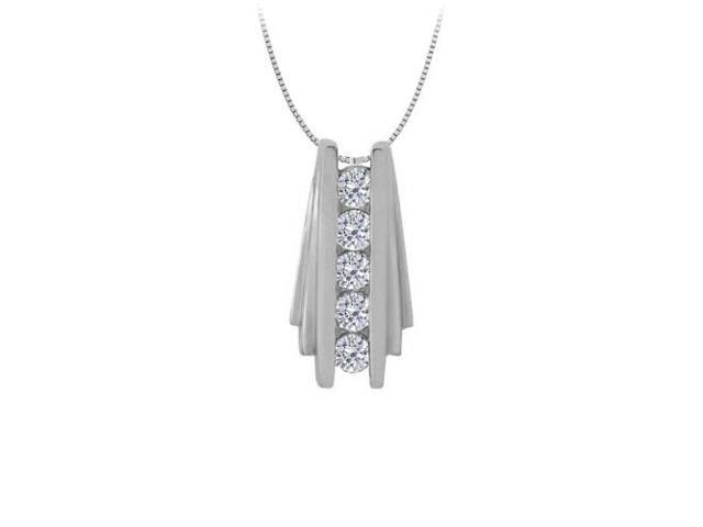 Diamond Channel Set Straight Line Pendant in 14K White Gold 0.50 CT TDWJewelry Gift