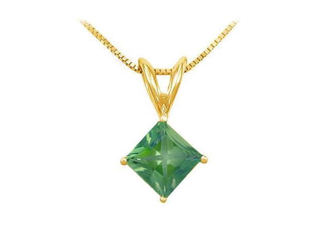 Emerald Solitaire Pendant  14K Yellow Gold - 1.00 CT TGW