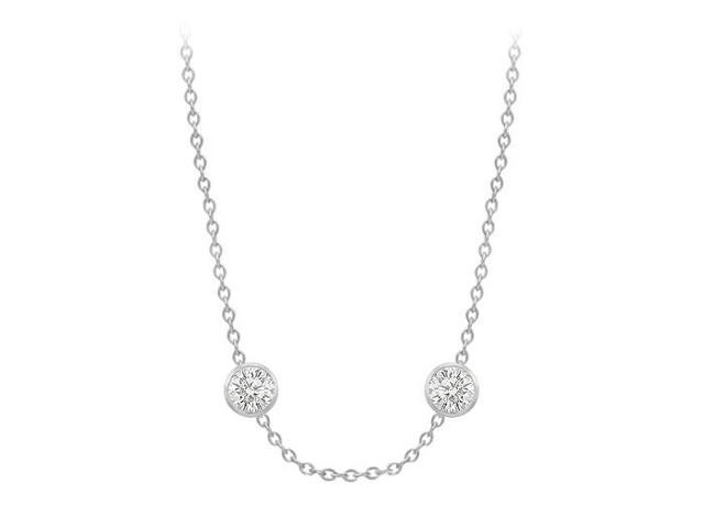 Diamonds By The Yard Necklace in 14K White Gold Bezel Set 0.66 ct.tw