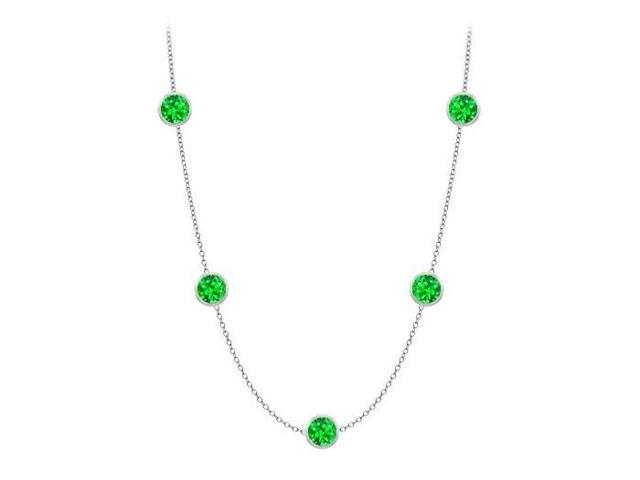 Diamonds By The Yard Frosted Emeralds Necklace on 14K White Gold Bezel Set 25.00 ct.tw
