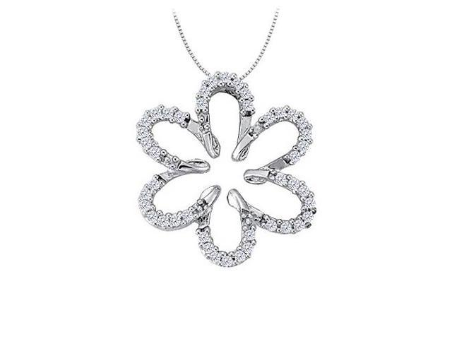 Cubic Zirconia Flower Shaped Pendant in 14K White Gold 0.25 CT TGWJewelry Gift for Women