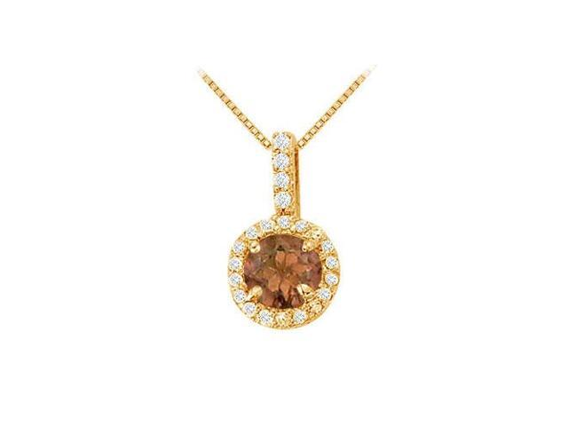 Fancy Round Smoky Quartz and Cubic Zirconia Halo Pendant in 14K Yellow Gold