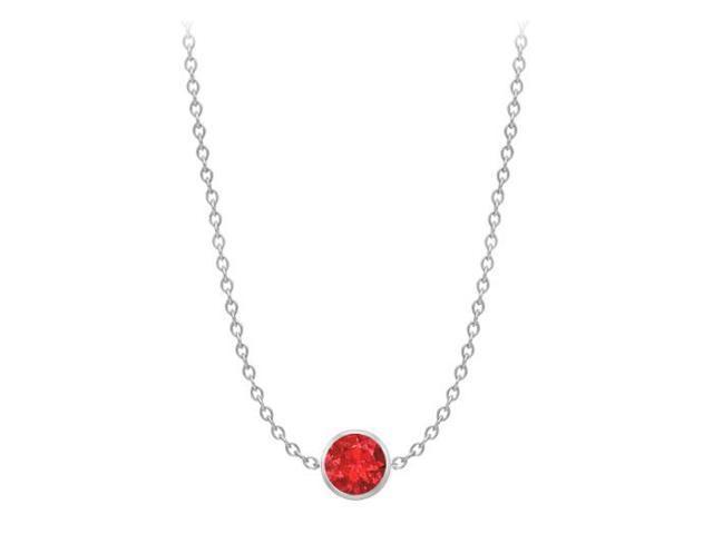Diamond By The Yard GF Bangkok Ruby Necklace on 14K White Gold Bezel Set 1.00 ct.tw