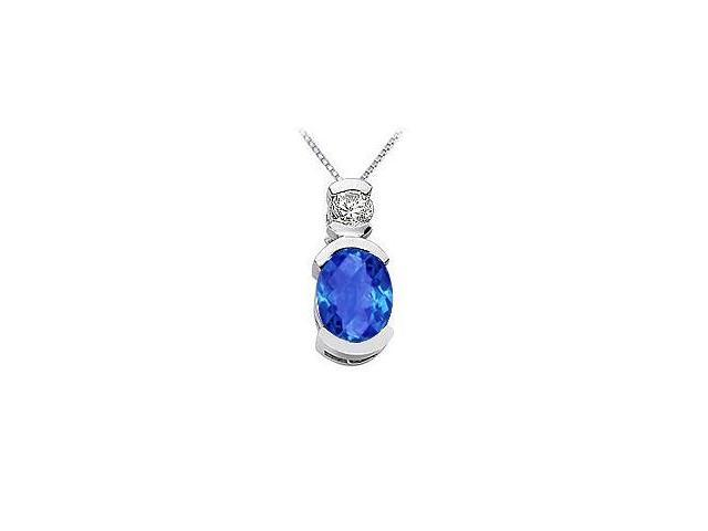Sapphire and Diamond Pendant  14K White Gold - 1.50 CT TGW
