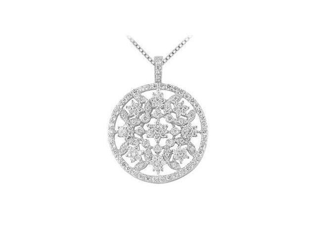 Diamond Circle Pendant  14K White Gold - 1.50 CT Diamonds