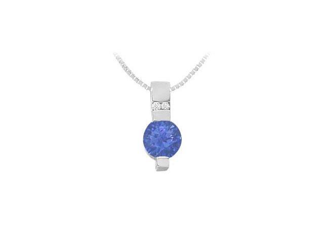 Sapphire and Diamond Pendant  14K White Gold - 1.05 CT TGW