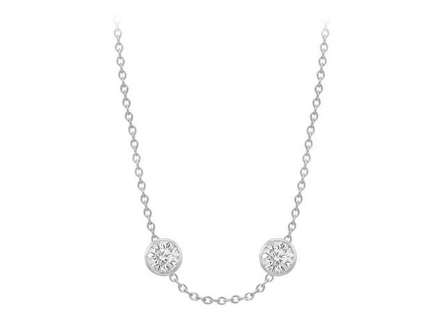 Diamonds By The Yard Necklace on a 18K White Gold Bezel Set 1.00 ct.tw
