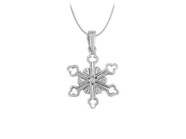 Cubic Zirconia Flower Shaped Pendant in 14K White Gold 0.01 CT TGWJewelry Gift for Women