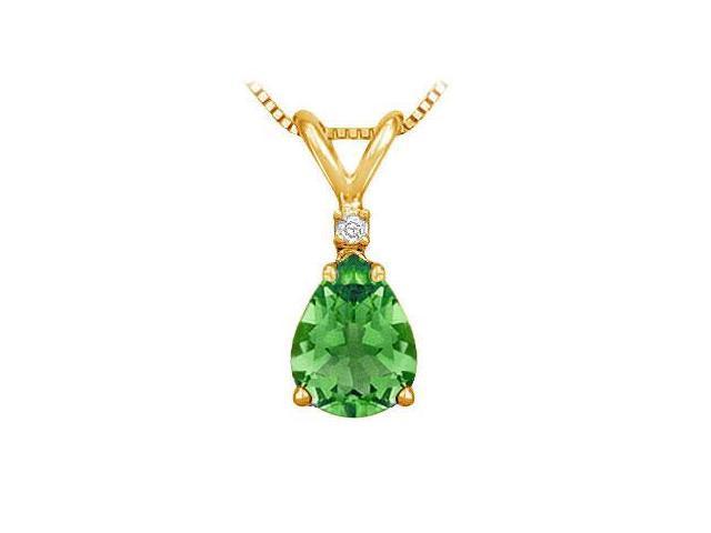 Diamond and Emerald Solitaire Pendant  14K Yellow Gold - 1.00 CT TGW