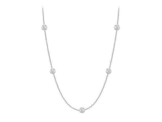 Diamonds By The Yard Necklace in 18K White Gold Bezel Set 0.10.ct.tw