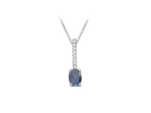 Genuine Sapphire and Diamond Pendant  14K White Gold - 1.10 CT TGW