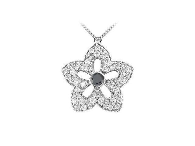 Black and White Diamond Flower Pendant  14K White Gold - 2.00 CT Diamonds