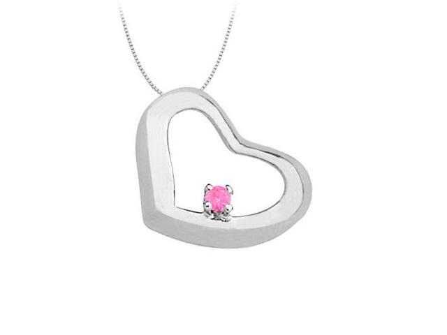 September Birthstone Created Pink Sapphire Heart Pendant in Sterling Silver 0.15 CT TGW